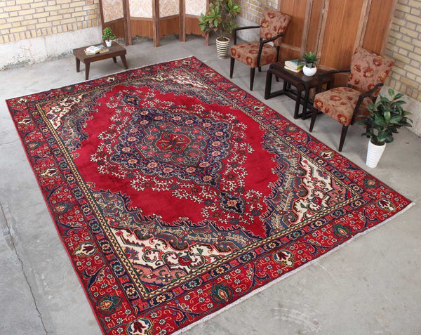 Vintage Handmade Floral 8x12 Red persian Rugs