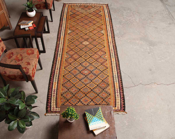 Distressed Handmade Geometric 3x8 Orange persian Runner Rugs