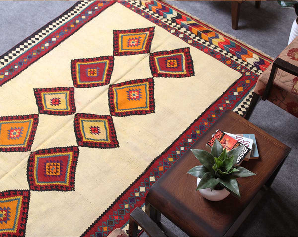Traditional Hand Knotted Geometric 5x7 Beige persian kilim rugs