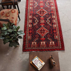 3x10 Wool Antique Red And Black Handmade Persian area rug