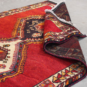 Handmade Geometric Persian Vintage Red wool Runner Rugs 4x14