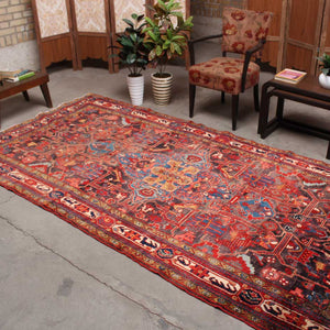 5x10 Wool Antique Orange And Grey Hand Knotted Persian area rugs