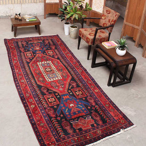 Antique Black And Red Persian Handmade Wool Rugs 4x9