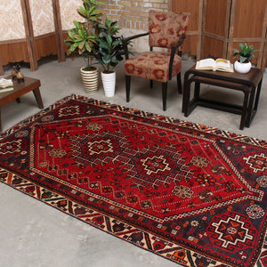 5x8 Wool Antique Red And Blue Handmade Persian area rug