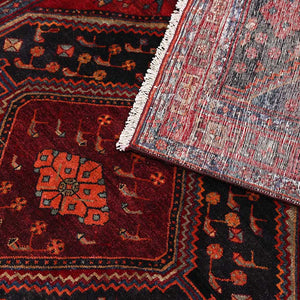 Distressed Black And Red Persian Handmade Wool area rug 4x10