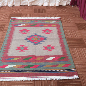 3x5 Wool Traditional Pink And Green Handmade Persian area rug