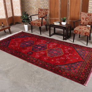 Hand Knotted Geometric Persian Antique Red wool rug 5x10