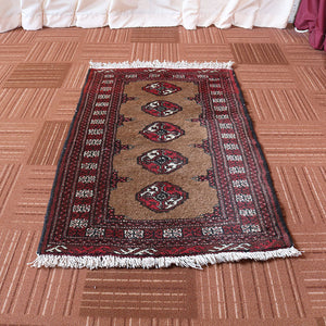 2x3 Wool Vintage Red And Beige Handmade Persian area rugs