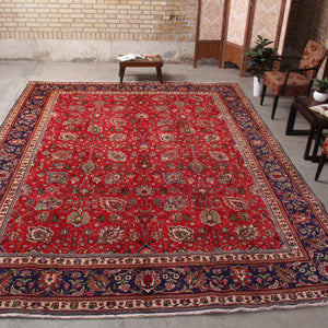 Antique Red And Beige Persian Handmade Wool area rug 9x13