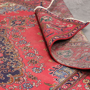 9x12 Wool Distressed Red And Blue Handmade Persian area rugs