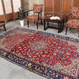 6x10 Wool Oriental Red And Blue Handmade Persian area rug