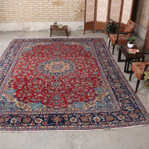 10x13 Wool Antique Red And Blue Hand Knotted Persian area rugs