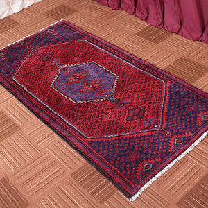 Antique Red And Blue Persian Handmade Wool Rugs 3x6
