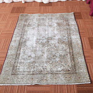 3x5 Wool Vintage Beige And Brown Hand Knotted Persian area rugs