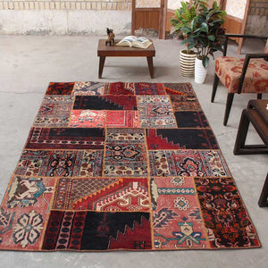 5x7 Wool Antique Black And Red Handmade Persian area rug