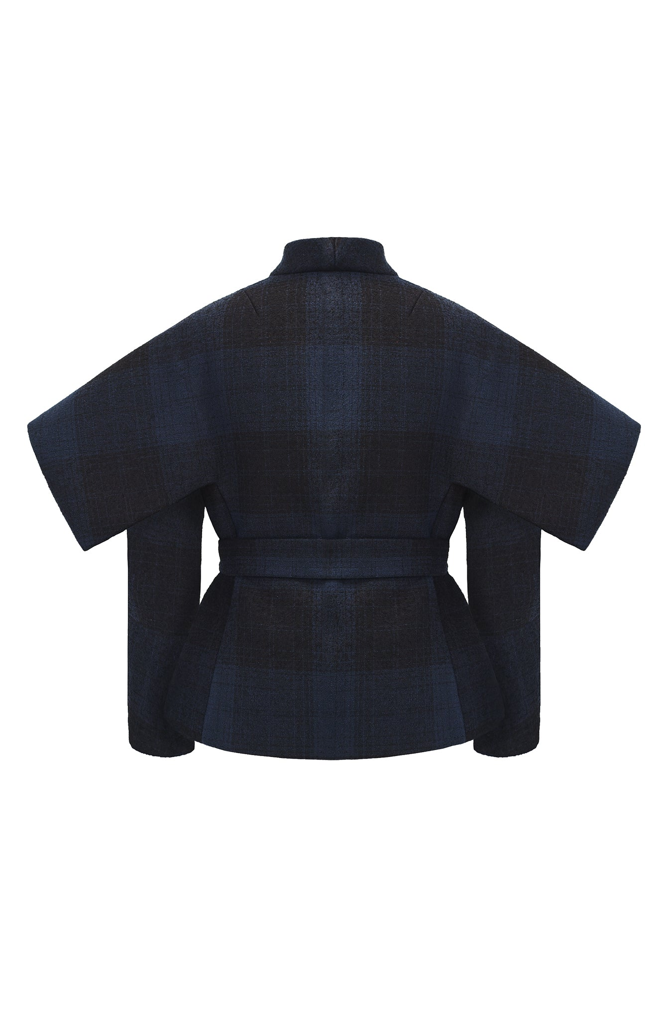 "Navy and Black Tartan Wool ""Armour"" Jacket"