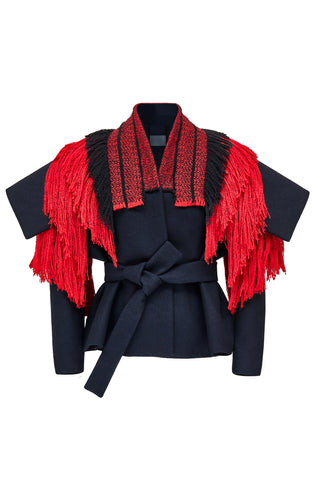 "Navy, Red and Black Wool ""Armour"" Jacket"