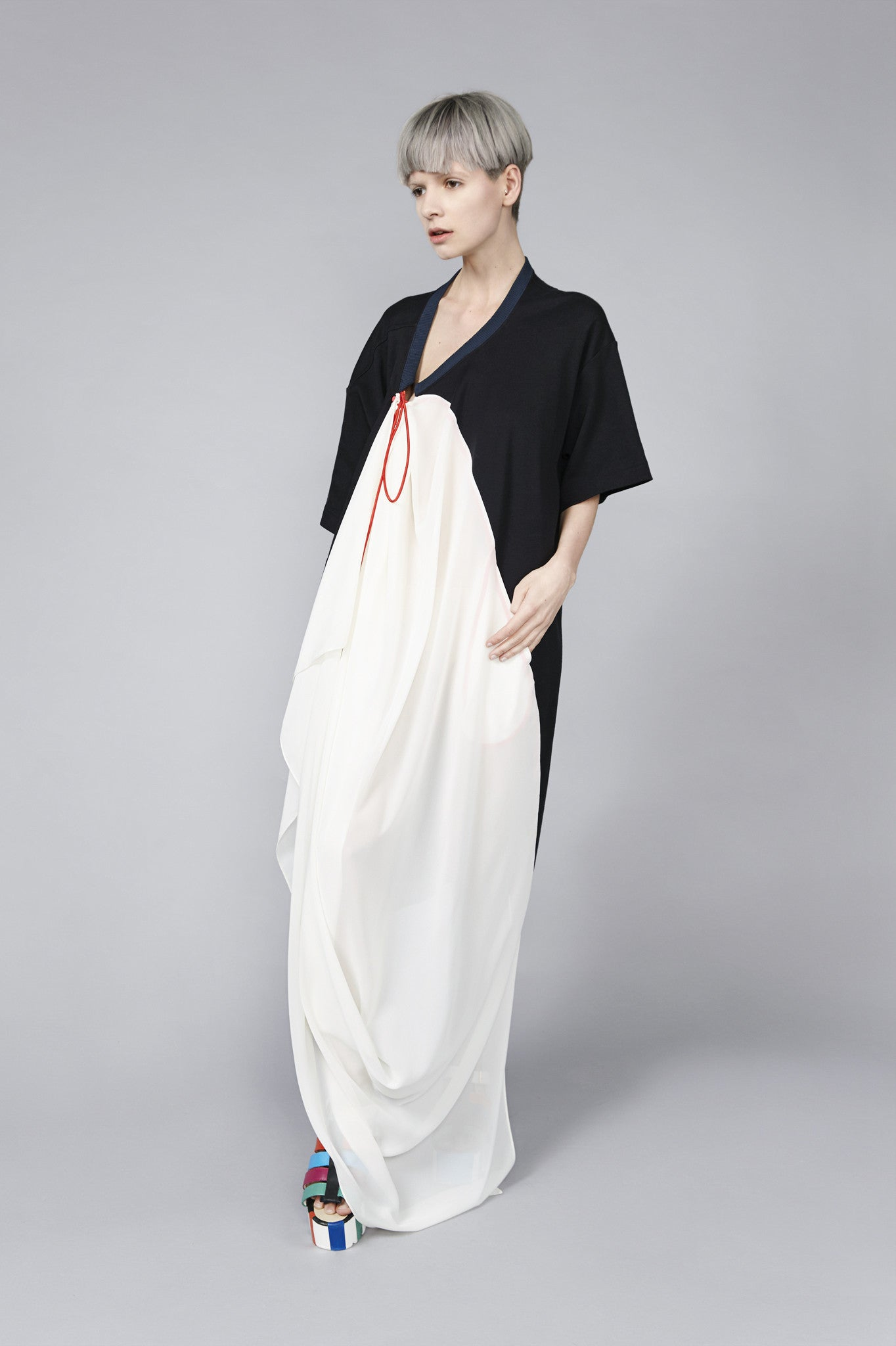 "Black and White ""Brando"" T-shirt Dress"