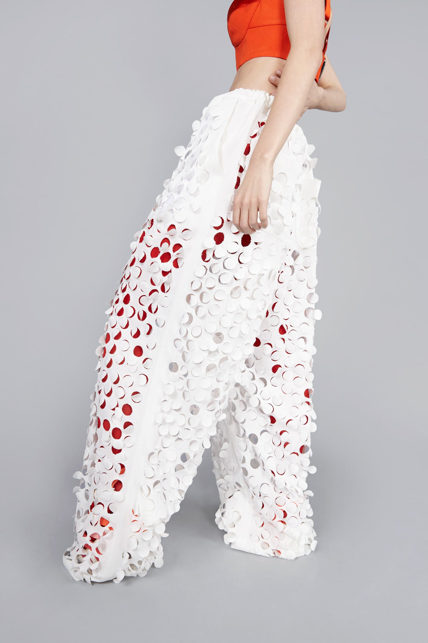White Die Cut ''Burell'' Wide Leg Trouser