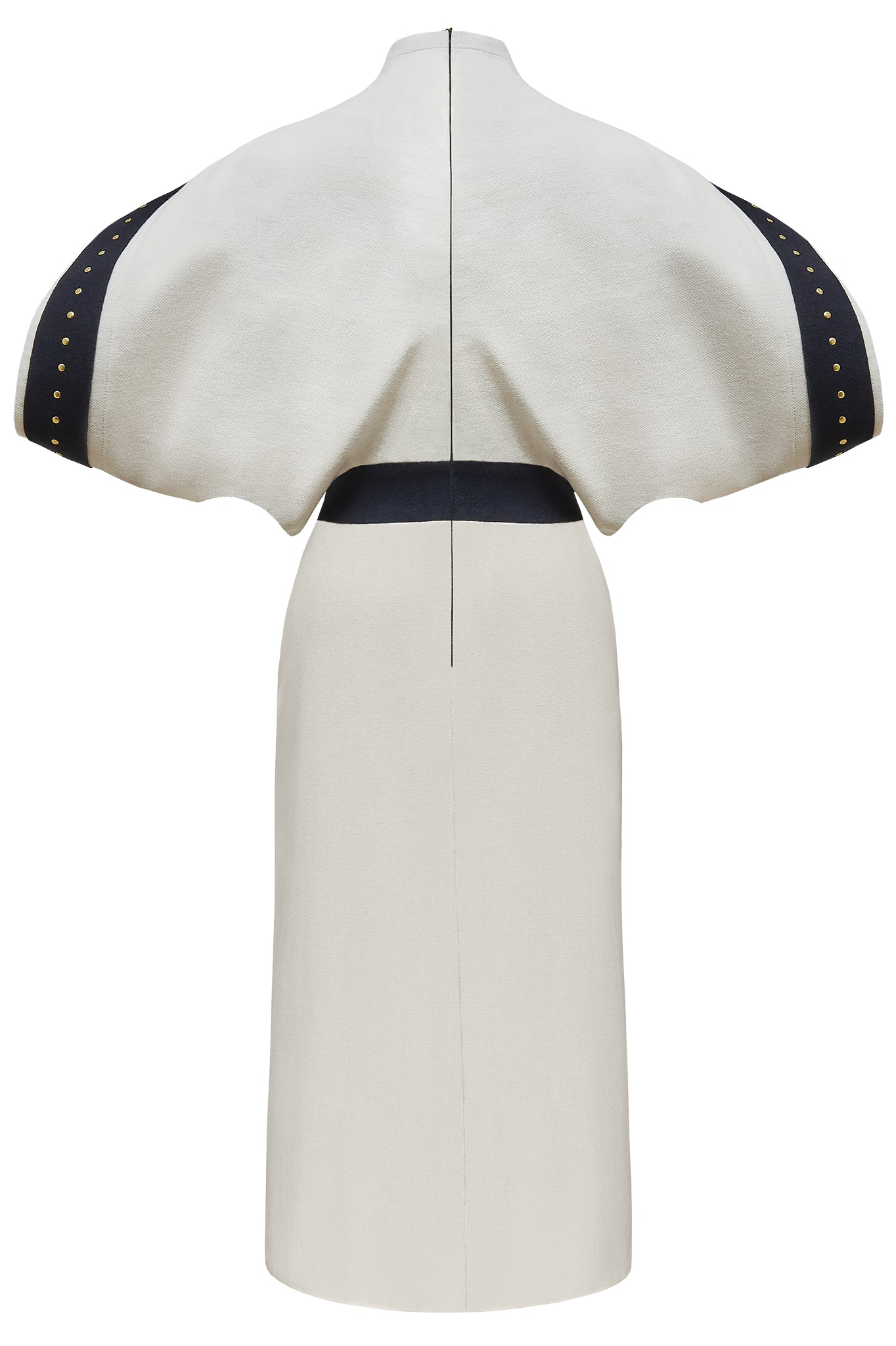 "Cream and Navy Blue Wool ""Boeing"" Dress"