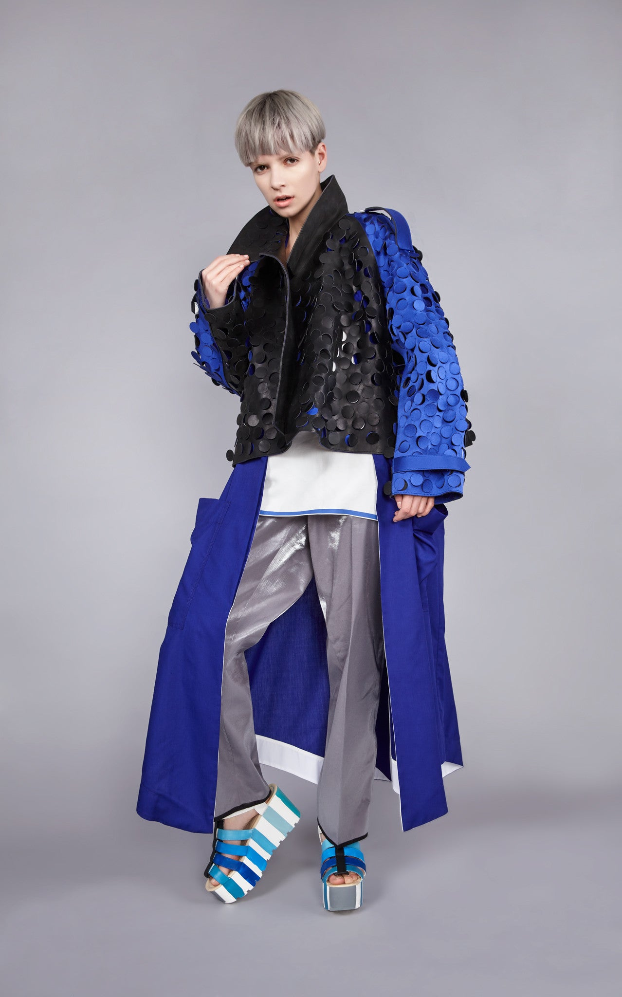 "Leather Bonded Die Cut ""Chameleon"" Cropped Trench"