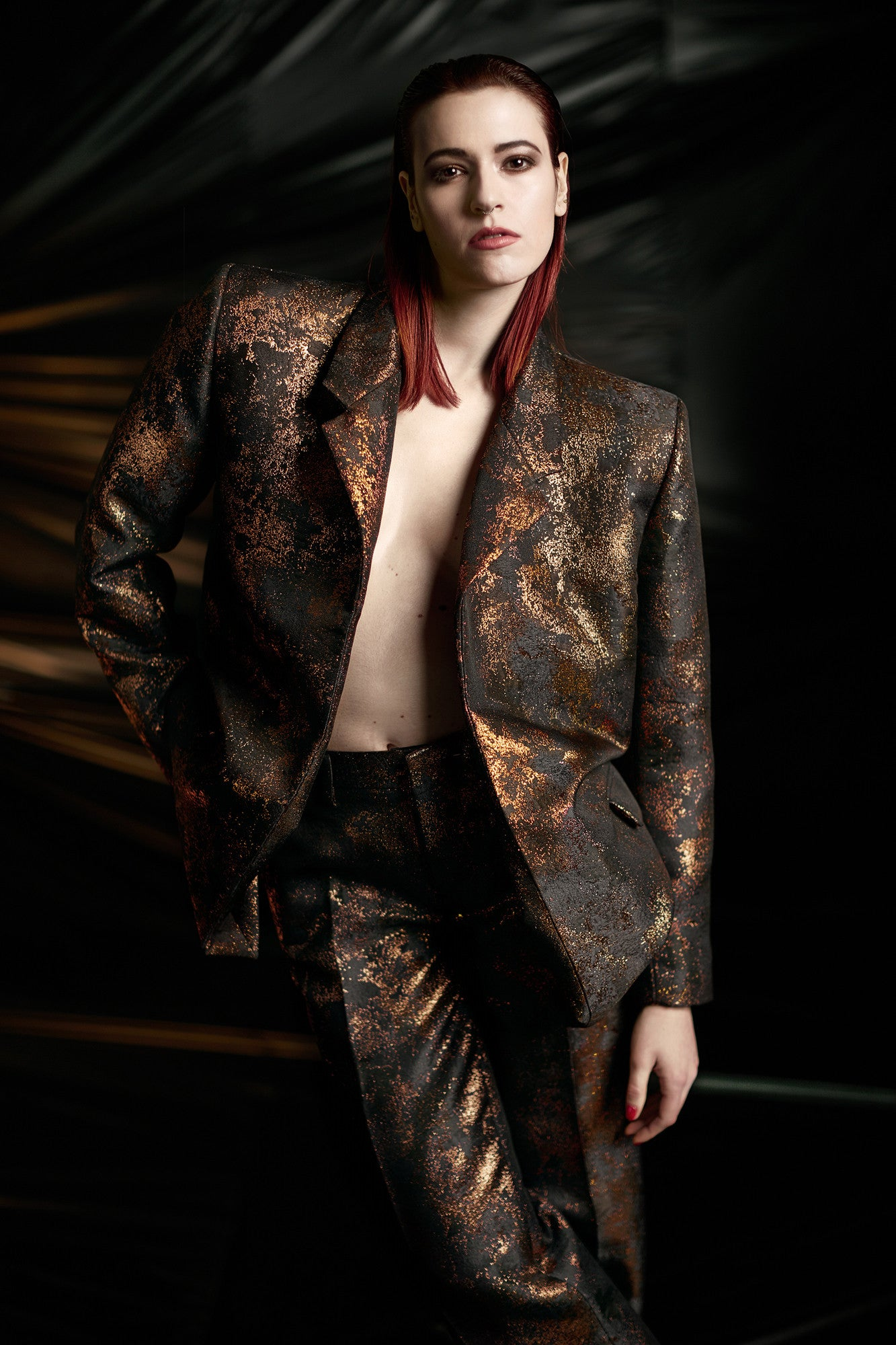 "Brocade ""Dick Tracy"" Suit Jacket Copper"
