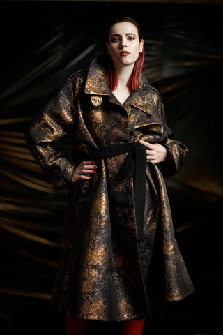 "Copper Brocade ""Cyrus"" Trench Coat"