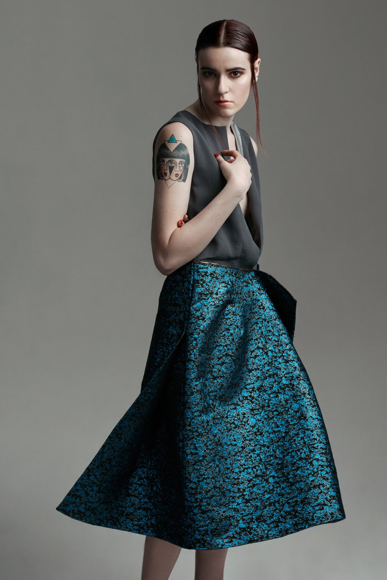 "Tonal Brocade ""Siri"" Dress"