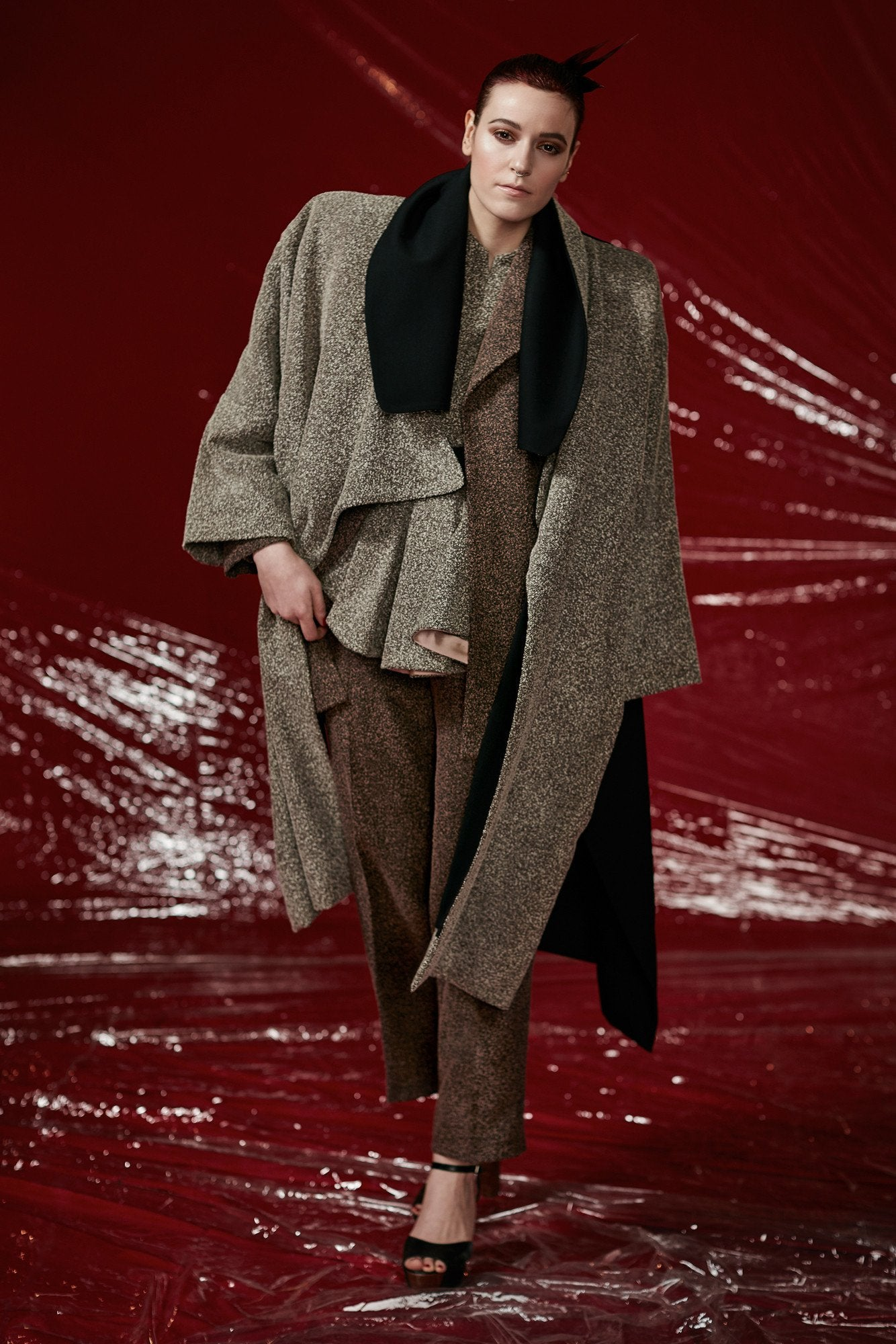 "Textured Wool fully reversible ""Bale"" Coat"