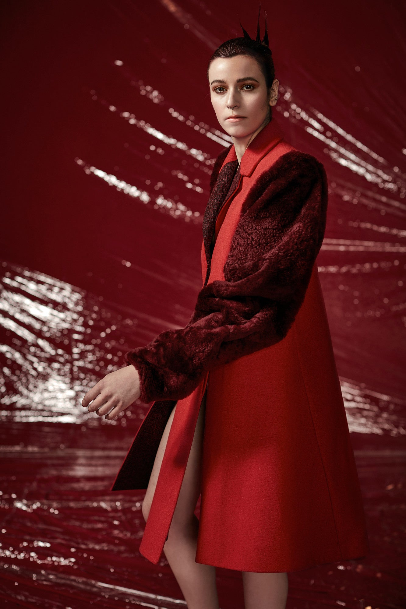"Wool and Fur ""Georgette"" Coat"