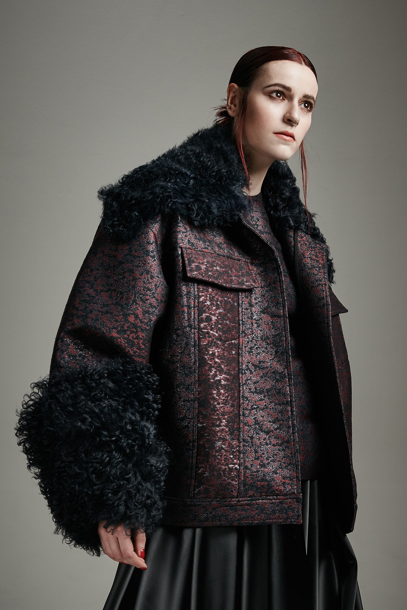 "Tonal Brocade ""Mave"" Jacket with shearling accents"