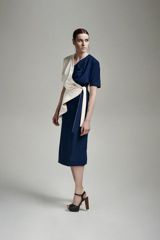 "Crêpe ""Waterfall"" two tone Dress"
