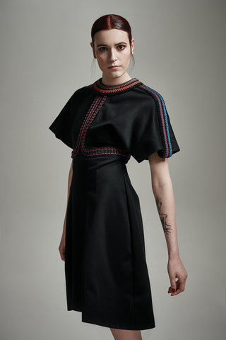 "Navy Cotton and Leather ""Sylvia"" Samurai Dress"
