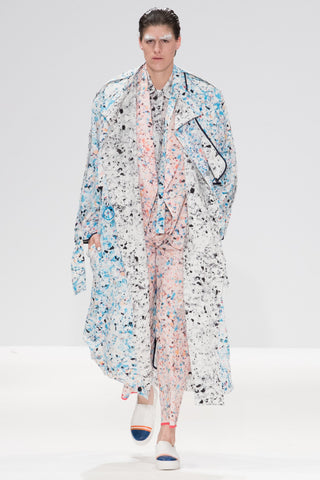 "Multi coloured foam Print ""Helios"" Drape Coat"