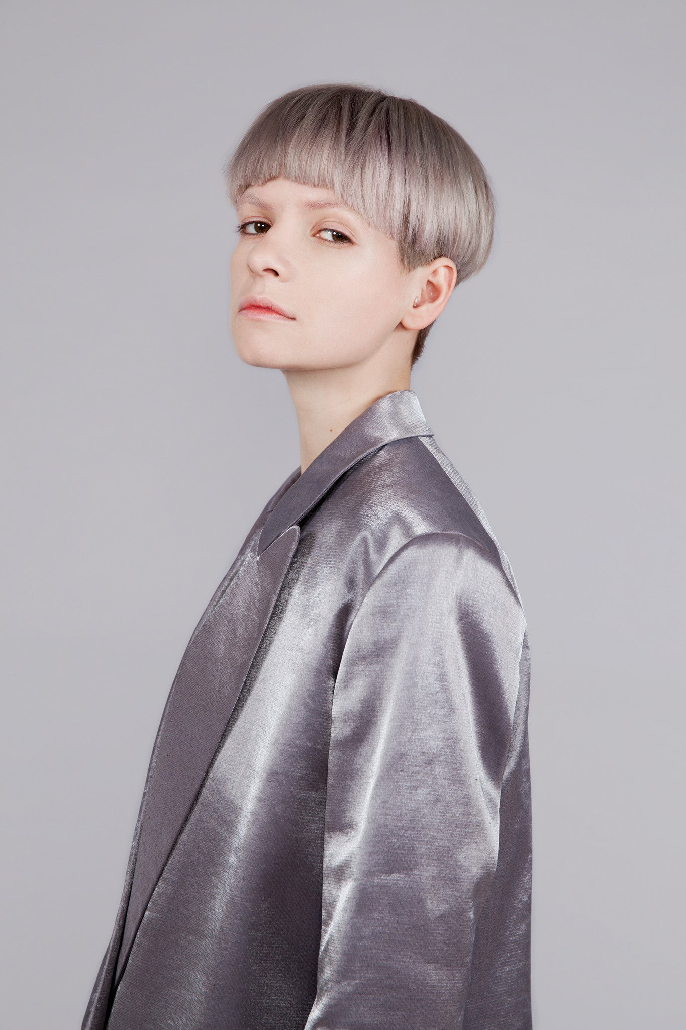 "High Shine Silver ""Tria"" Formal Jacket"