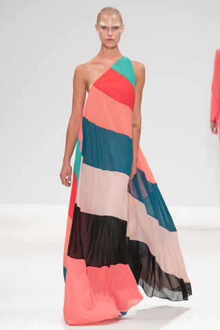 "Multicoloured ""Helter"" One Shoulder Dress"