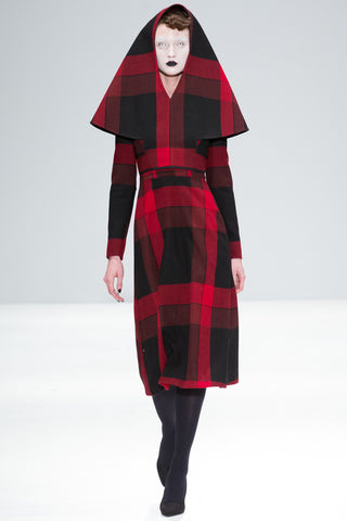 "Red and Black Tartan Wool ""Florence"" Hood"