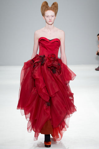 "Red and Orange Organza ""Atom"" Dress"