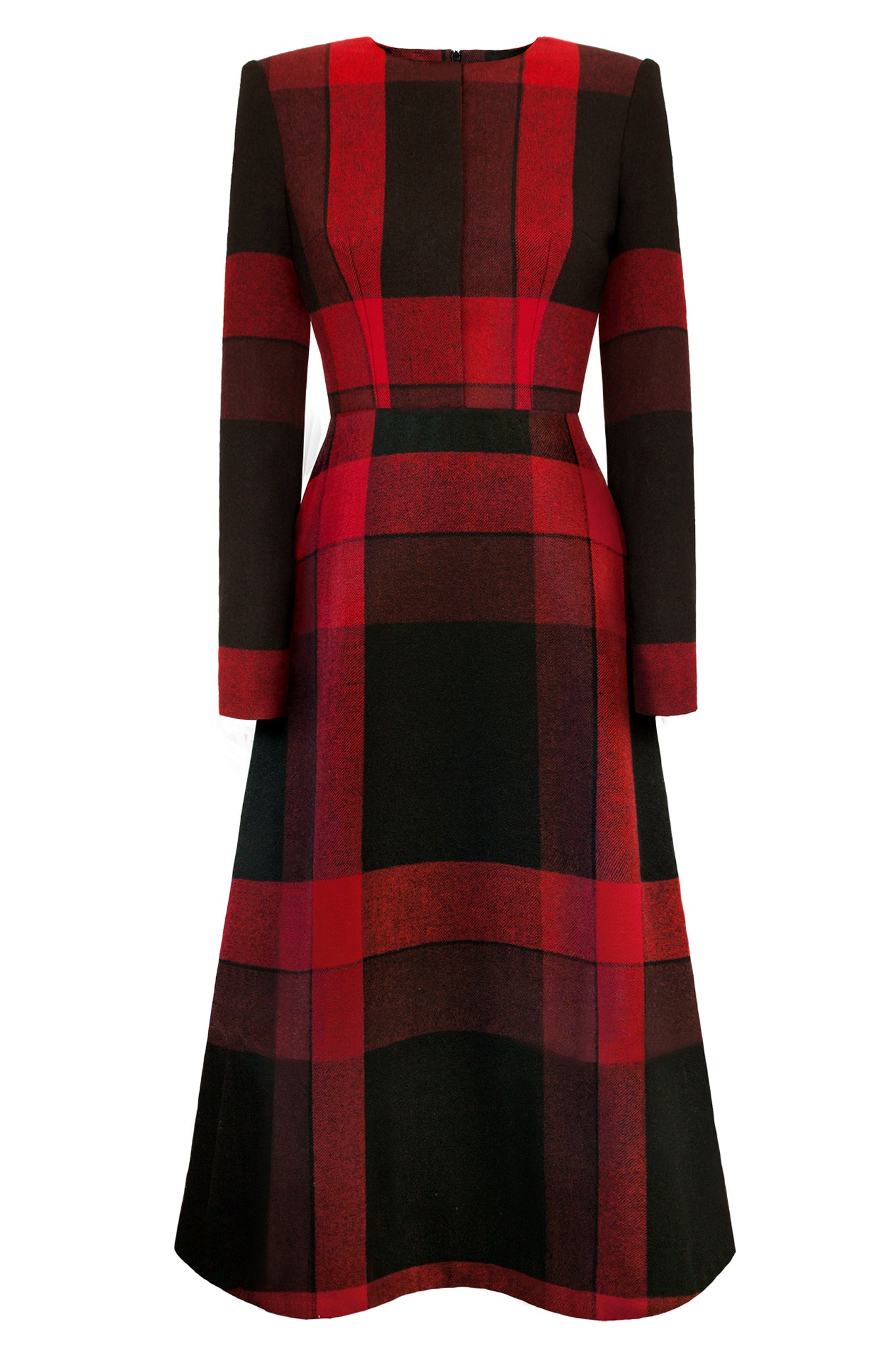 CIMONE AW17 3/4 length red and black wool tartan dress, first seen on the catwalk during London Fashion Week. The perfect statement winter dress.