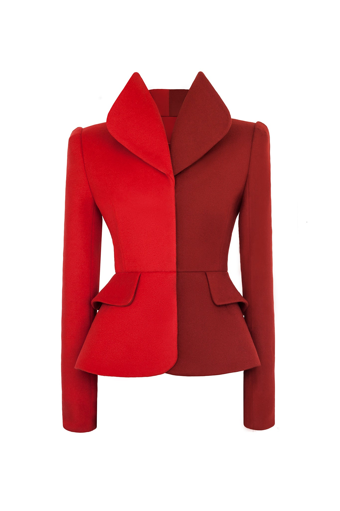 CIMONE's AW17 Dietrich jacket. Named after Marlene! This sculptural tailored and fitted suit jacket is fabricated in two-tone  red and burnt orange wool.