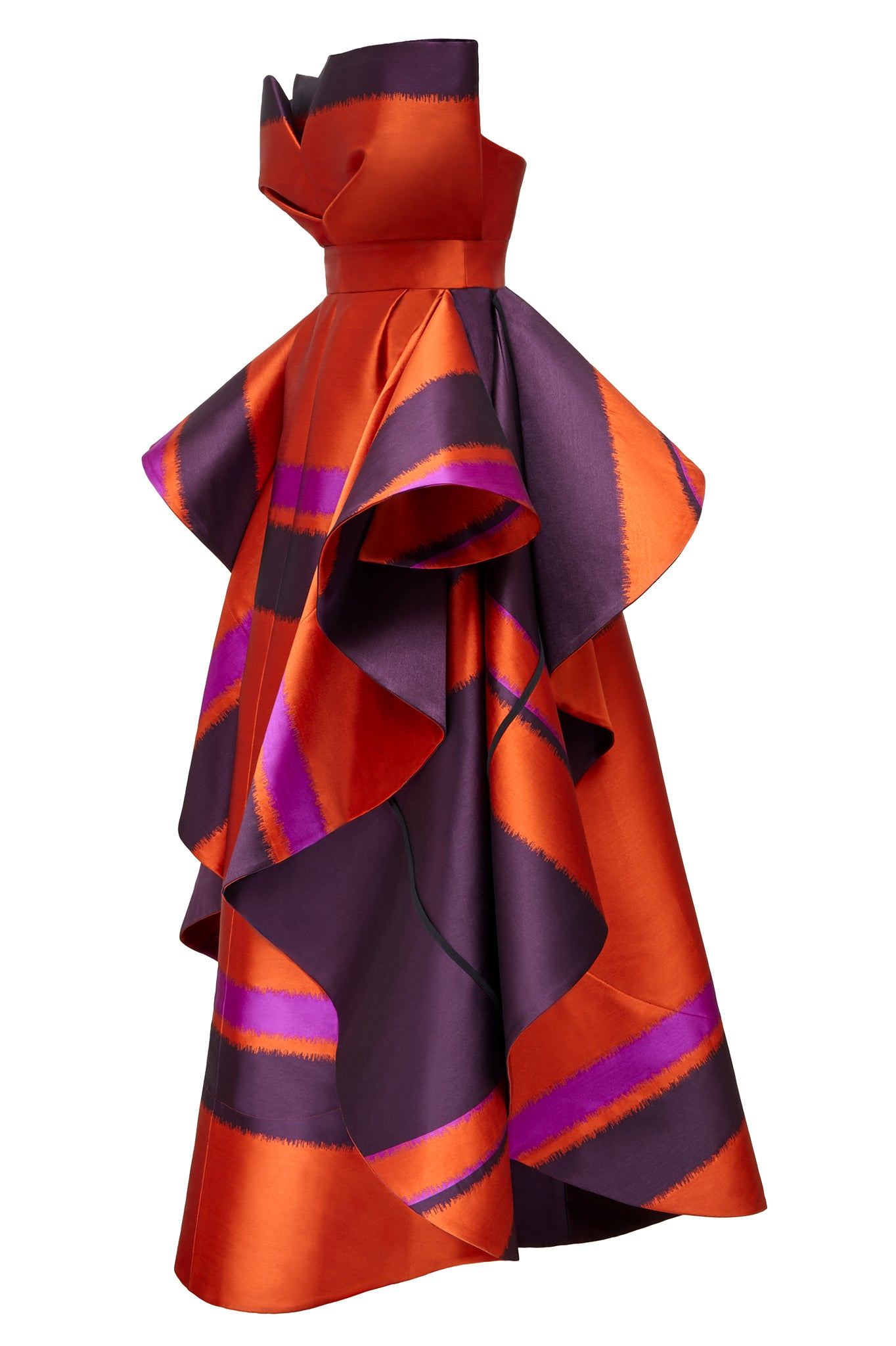 Another feature piece on our AW17 catwalk, this 'erupt' dress is fabricated here in a striped orange, pink and deep purple blended silk, this breathtaking evening / occasion dress is the perfect piece for any event if you want to stand out from the crowd.   Fitted at the waist, and comprising of an internal corset, the 3D drape at the front gives a sculptural element that balances perfectly with the dramatic sides.