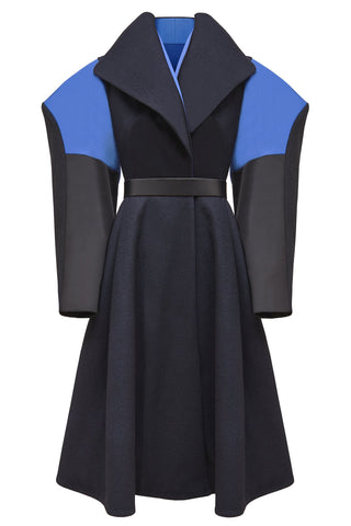 "Navy Blue Wool and Satin ""Extra"" Coat"