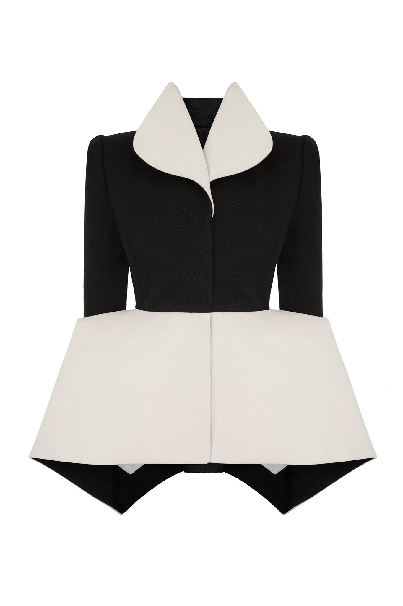 Cimone's 'Garbo' jacket has a close fitting form with a small, neat, shoulder line, brought to life by a gravity defying triangular peplum shape at the hem.