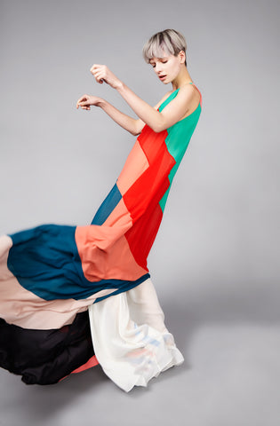 Multicoloured ''Helter'' One Shoulder Dress