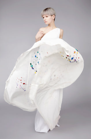 Paint Splash Embroidered ''Helter'' One Shoulder Dress