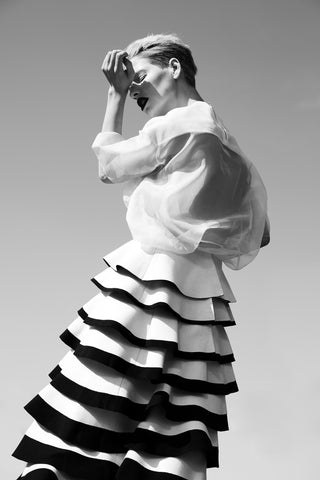 "White and Black Wool ""Vex"" Skirt"
