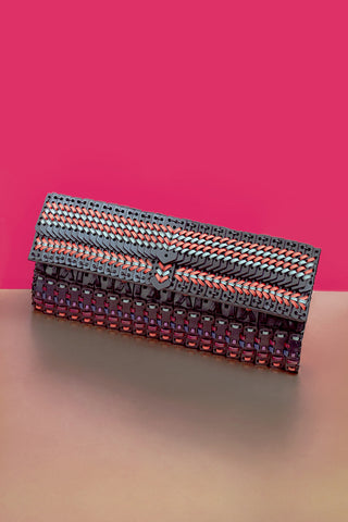 "Woven Leather ""ONNA"" Clutch Bag"