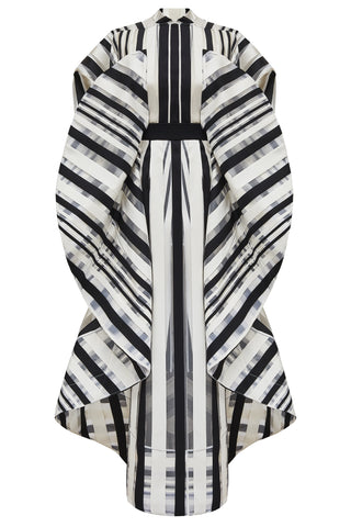 "Black, Cream and Transparent Striped ""Pogona"" Dress"