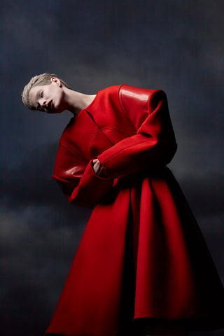 "Red Wool and Latex ""Broad"" Coat"