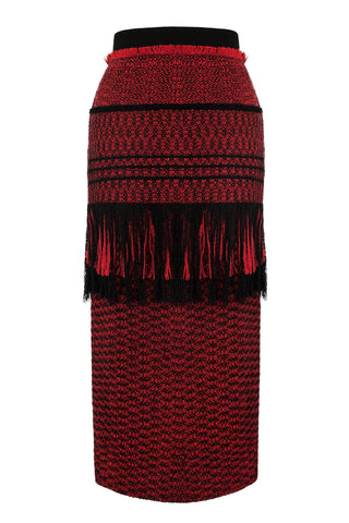 'Splinter' takes its name from the hand-manipulated fringed fabrication. The main body is composed of red and black flecked wool, with another layer of the same fabric applied at the top in long fringed variation.